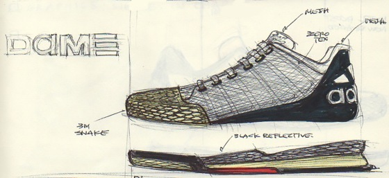 Robbie Fuller's initial sketch of the D Lillard 1 for Damian Lillard.