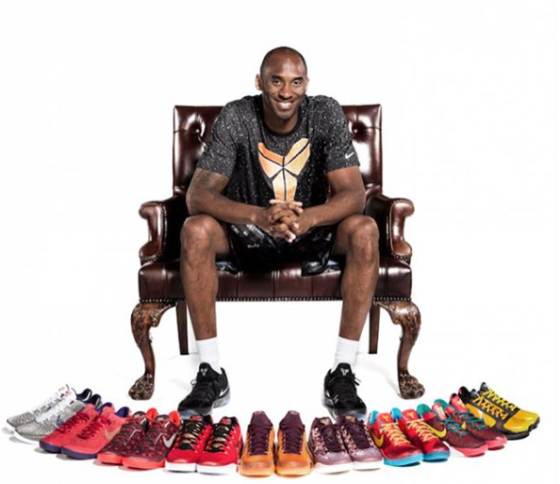 Kobe Bryant with all of his Asia inspired Nike Basketball shoes, including the most recently being the Zoom Kobe Mentality 5. (Nike)