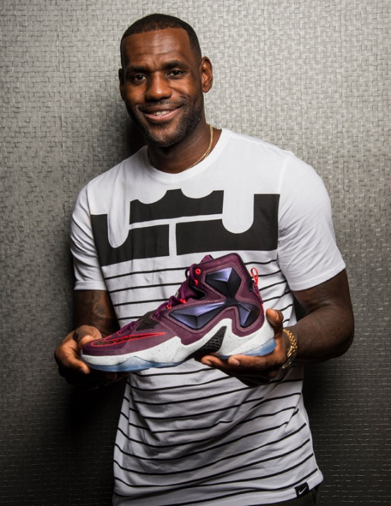 LeBron showing off the Zoom LeBron XIII at the press release in Akron, Ohio late September 2015.